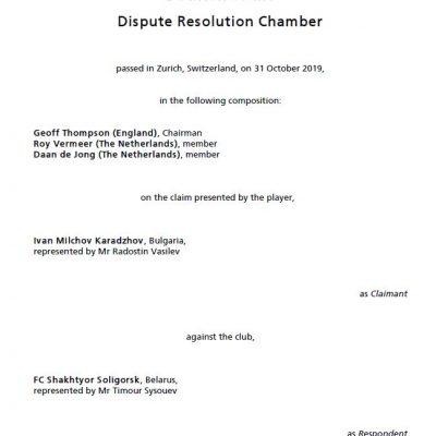 FIFA DRC decided in favor of Ivan Karadzhov