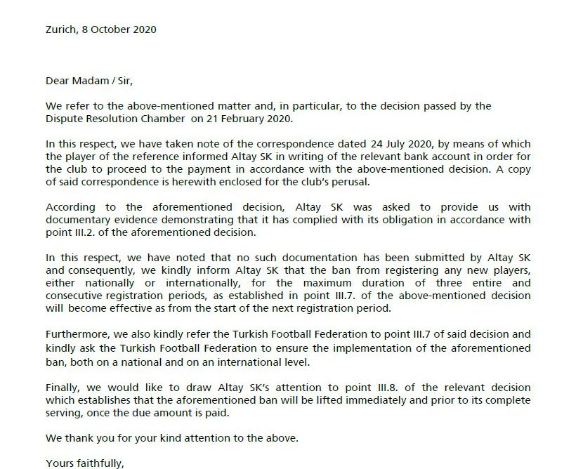 ФИФА наложи бан на ФК АЛТАЙ (Турция)